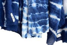Shibori Cotton Scarf, Indigo Blue scarf, Blue fashion accessories, Holidays gifts, blue white stripes