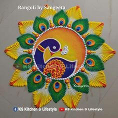 Simple Rangoli Designs Images, Rangoli Designs Latest, Colorful Rangoli Designs, Rangoli Designs Diwali, Best Mehndi Designs, Beautiful Rangoli Designs, Mehandi Designs, Ganesh Rangoli, Diya Rangoli