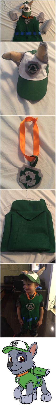 Paw Patrol Rocky Costume  Materials: Green felt, grey felt, tan felt, blue 3 inch ribbon, orange 1 inch ribbon , sewing machine, hot glue gun, Velcro tape, white hate, green paint, paintbrush.