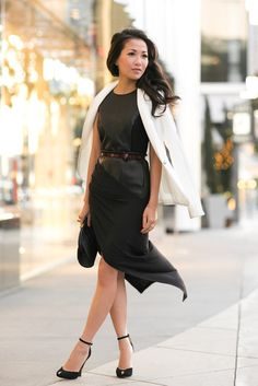 Black and White  Wendyslookbook  A style tip with exposure is not to go overboard If you want a higher slit in your dress, go with a longer length skirt so counter balance it.