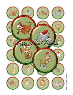Christmas cats and dogs - 1.5 inch circles - digital collage sheet 025 HFD  - Printable Download. $3.20, via Etsy.