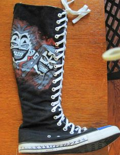 Insane Clown Posse shoes for a certain Juggalette Juggalo Family, Insane Clown Posse, Shoe Art, Crazy Shoes, Diy Clothes, High Top Sneakers, Converse, Cute Outfits, My Style