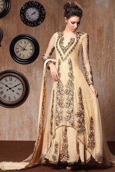 Cream Net Churidar Suit with Chiffon Dupatta Cream Net, semi stictch anarkali churidar suit.   Sweetheart neck, Floor length, full sleeves kameez.   Cream santoon churidar.   Cream chiffon dupatta with lace border with work.  It is perfect for casual wear, festival wear, party wear and wedding wear wear.  Top Length 56   http://www.andaazfashion.co.uk/cream-net-churidar-suit-with-chiffon-dupatta.html