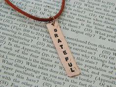 Grateful necklace Inspirational necklace affirmation copper necklace