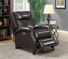 Barcalounger Barrett Power Recliner w/ Power Headrest in Stetson Coffee / All Leather Power Recliners, Barcalounger, Mahogany Color, Sofa Furniture, Foot Rest, Seat Cushions, Family Room, Ottoman, Nailhead Trim