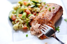 Seared Salmon with Israeli Couscous Salad.
