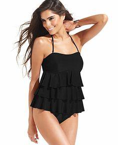 Island Escape Tiered Ruffle Tankini Top - Swimwear - Women - Macy's