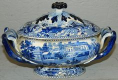 Lot: Blue Staffordshire Historical dark blue tureen, Lot Number: 0295, Starting Bid: $100, Auctioneer: Langston Auction Gallery, Auction: ANNUAL LABOR DAY AUCTION, Date: September 5th, 2016 EDT
