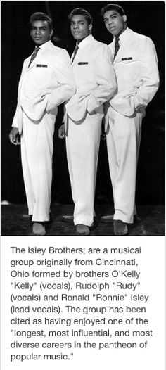 """The Isley Brothers; are a musical group originally from Cincinnati, Ohio formed by brothers O'Kelly """"Kelly"""" (vocals), Rudolph """"Rudy"""" (vocals) and Ronald """"Ronnie"""" Isley (lead vocals). OLD SKOOL BASEMENT Music Icon, Soul Music, Smooth Jazz, Rock And Roll, The Isley Brothers, Vintage Black Glamour, Vintage Soul, Blues, Soul Singers"""