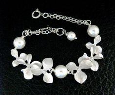 Pearl Necklace Orchids Wedding Jewellery Bridesmaid Gift Jewelry   Vivian-Feiler-Designs - Wedding on ArtFire