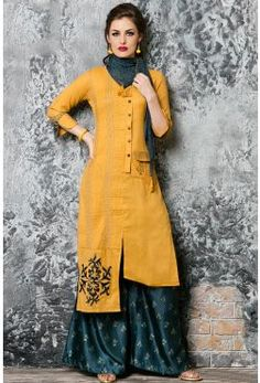 Yellow Cotton Silk Resham Embroidered Designer Kurti-WKR1175