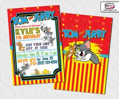 Tom and Jerry  Invitations by MetroEvents on Etsy, $9.98