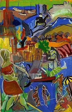 Pierre AMBROGIANI (Ajaccio, 1907 - Allauch, 1985) Le port de Marseille Huile sur carton