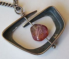 """Ed Wiener Sterling & Rose Quartz Pendant Necklace 1950's. (pendant measures 1 3/4"""" x 1 3/4"""" ."""