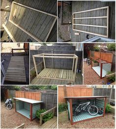 Pergola Attached To House Plans Diy Shed Plans, Storage Shed Plans, Bike Storage Shed Diy, Garage Plans, Diy Bike, Wooden Playhouse Kits, Outdoor Bike Storage, Backyard Storage, Bike Shelter