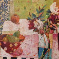 Two Pears and Garden Flowers