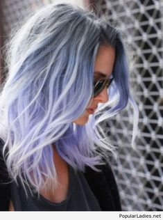 Blue purple hair color and cool sunglasses