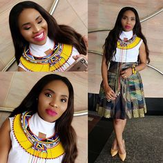 This combo is absolutely unique and classy. The outfit and neck piece portrays a modern stylish africa woman. Zulu Traditional Attire, South African Traditional Dresses, Traditional Skirts, African Wedding Attire, African Attire, African Wear, African Dress, African Outfits, African Girl