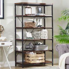 Bookshelf Bookcase Display Shelving Unit 6 Shelf Vertical Storage Wide Metal Fra #Homelegance #ModernIndustrialSteampunkContemporaryRustic