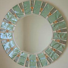 Beautiful Handmade Mosaic Mirror Bevelled Edge Glass Sage And Gold  Mosaic Tile