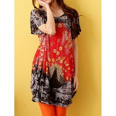 Plus Size Scoop Neck Peacock Print Short Sleeves T-shirt For Women