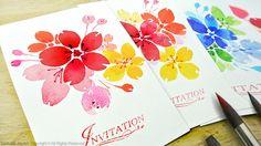 Watercolor Floral Invitations / DIY Handmade Cards