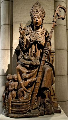 St. Nicholas reviving three boys from the pickling tub, oak sculpture, South Netherlandish, c. 1500; in the Metropolitan Museum of Art, New York City.