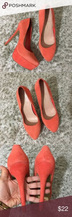 Jessica Simpson Platform Heels Orange 10 Jessica Simpson orange Suede platform heels  Size 10 B -------  DISCLAIMER:: Color may vary slightly depending on computer screen and fluorescent lighting. Photos were taken in natural light under shaded condition. Comes from smoke free/ pet free home. Please review my feedback and feel free to ask any questions.  Descriptions are written as honest possible and photos assist the full description. Please thoroughly review. I want happy and returning…