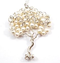 Fresh Water Pearl Swirly Wire Tree Pendant by CuriousJewelry, $30.00