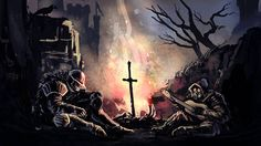 armor artist request assault rifle banner bare tree bird campfire castle crossover dark souls full armor fur gas mask goggles guitar gun helm helmet highres hood instrument military military uniform multiple boys music night on ground outdoors Graphic Wallpaper, Original Wallpaper, Bloodborne Art, Soul Game, Praise The Sun, Boy Music, Bare Tree, Tim Beta, Latest Hd Wallpapers