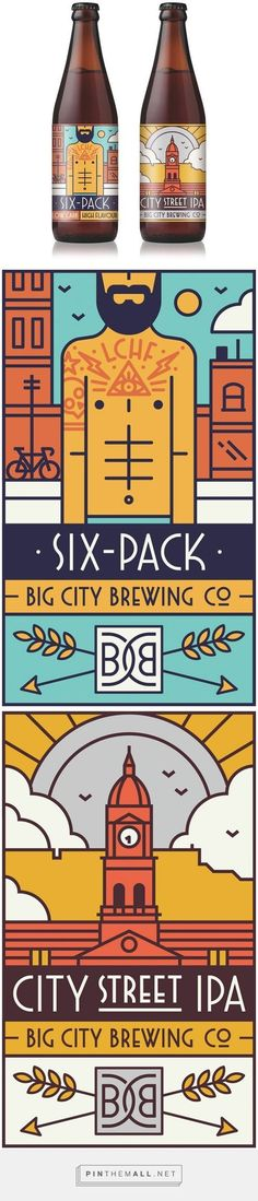 (70) Big City Brewing Co. / MUTI. Like the way they maintained a design theme but are able to differentiate the beers. C. | Packaging | Pinterest Line Art