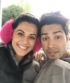 Varun Dhawan and Taapsee Pannu look like two happy bunnies in this pic from the sets of Judwaa 2 #FansnStars
