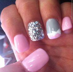 ❤❤ pink glitter white gray bow finger nail nails polish design art I'm gonna do these right now!!!