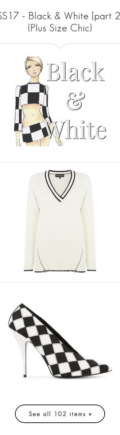 """""""SS17 - Black & White [part 2] (Plus Size Chic)"""" by foolsuk ❤ liked on Polyvore featuring tops, sweaters, women knitwear, white v neck sweater, white v neck top, label lab, white top, v neck tops, shoes and pumps"""