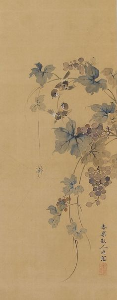 Japanese Fine Art Wall Hanging Painting Antique Sparrows in Grapes Hanging Scroll Kakejiku Japanese Painting, Chinese Painting, Chinese Art, Art Chinois, Art Japonais, Art Graphique, Japanese Prints, Japan Art, Ink Painting