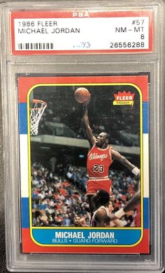 new arrival b4bd1 dc1b4 Details about Michael Jordan 1986 87 Fleer Basketball  57 Chicago Bulls RC  Rookie PSA 8