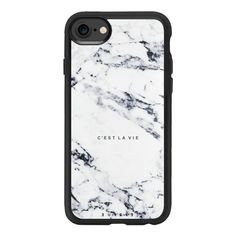 C'EST LA VIE / W / MARBLE - iPhone 7 Case And Cover (£32) ❤ liked on Polyvore featuring accessories, tech accessories, iphone case, iphone cases, apple iphone case, iphone cover case and clear iphone case