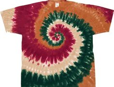 Tan spiral tie dye shirt.  Tan is a predominant color complimented by other hues.