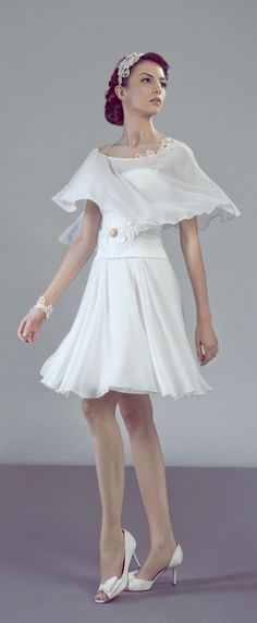 Tre-Grazie short non traditional wedding dress with a vintage inspired cape