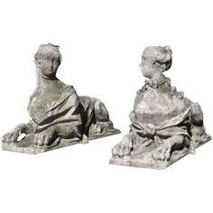 Pair of Rare and Important Stone Sphinxes