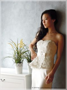 """Tim Ellis - """"Eternally Yours""""    WG005 - A sleek, elegant and fashionable peplum wedding dress.  With beads and crystals embellished bodice, highlighted with a bow waistband.   #wedding #gowns #dresses #bridal #party #love #romance #ceremony  www.lunewedding.com"""