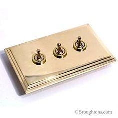 Edwardian Dolly Switch Brass 3 Gang 2 Way