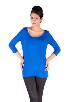 Ladies Knit Top 3/4th Sleeve Viscose Lycra Cobalt  #womensfashion #fashionbloggers #ss17 #freeshipping #jegging #harem #womenstops #shimmerlegging #bloggers #discount