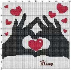Amor hands and heart Wedding Cross Stitch Patterns, Cross Stitch Designs, Pixel Art Coeur, Cross Stitching, Cross Stitch Embroidery, Graph Paper Art, Cross Stitch Heart, Tapestry Crochet, Knitting Charts