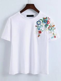 Shop Flower Embroidery T-Shirt online. SheIn offers Flower Embroidery T-Shirt & more to fit your fashionable needs.