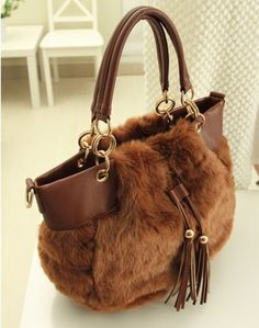 Casual fashion Heart plush handbags chain bag  shoulder bag Imitation rabbit fur handbags free shipping on AliExpress.com. $38.90
