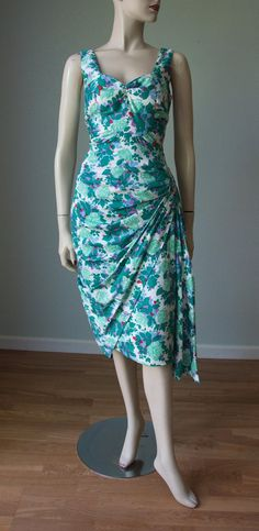 b26d094951f43 1950s Hannah Troy Cotton Sarong Skirt Dress with Lots of Pleating and Side  Swag / Drapey Strappy Hourglass Bombshell Party Attire / Small
