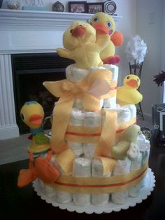 Duck Theme Diaper Cake for Baby Shower