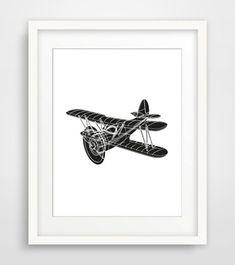 Printable Minimalist Print, Black White Wall Art, Vintage Airplane Print, Scandinavian Poster, Nursery Wall Art, Gifts for Him, Large Poster