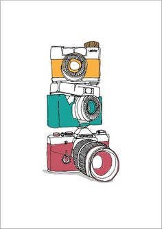 One line drawing of cameras, from Creatives Inc.